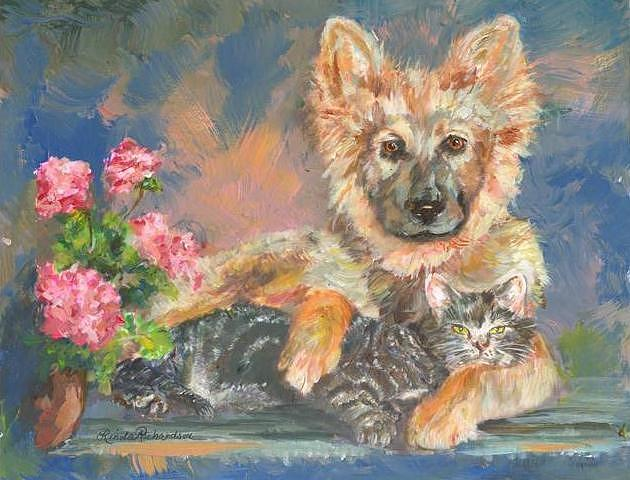 Dogs And Cats Painting - What Are You Looking At? by Linda Richardson