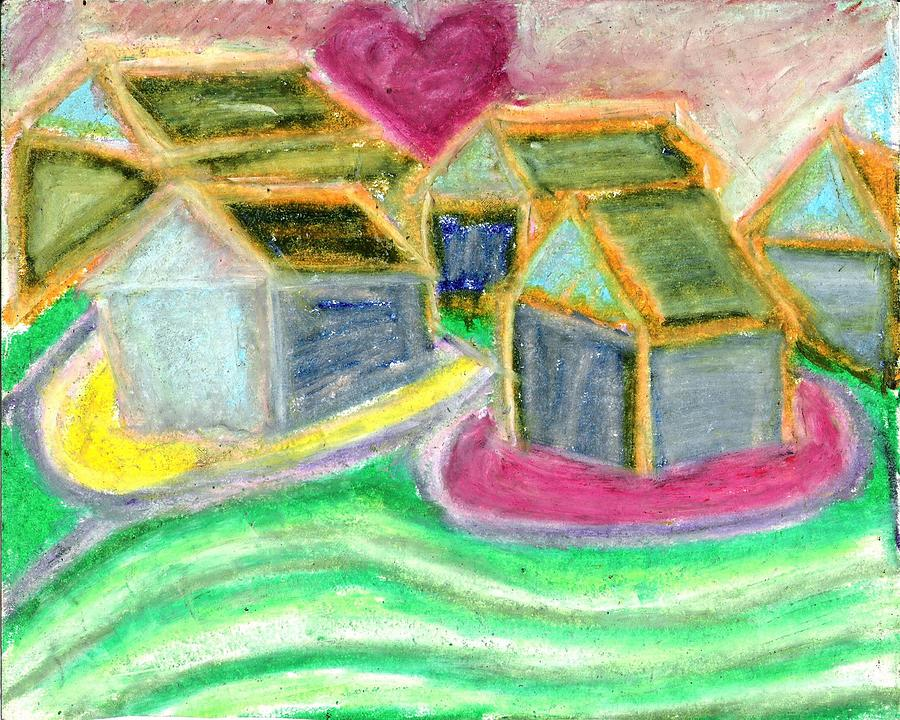 Heart House Hill Sun Pink Green Yellow Color Cool Mothers Day Pretty Beautiful Art Impressionism Abstract Love Family Happy Hearts Houses Colorful Colors Nice Neat Fresh Best Banksy Salvadordali Keithharring Jacksonpollock Shepardfairey Vincentvangogh Edwardmonet Roylitchenstein Eggs Easter Gift Original Contemporary Interesting Design World Interior Decor Stitchlip Sky Sunset Bible Real Grass Roof Holiday Female Girls Rooms Creative Peaceful Inspirational Lovely Wonderful Easter Fineartamerica Drawing - Where Mother Lives  by Levi Glassrock