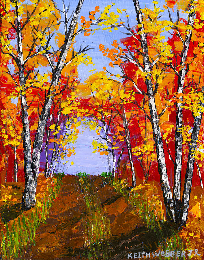 White birch tree abstract painting in autumn painting by for Autumn tree painting