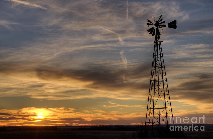 Prairie Sunset Photograph - Windmill And Sunset by Art Whitton