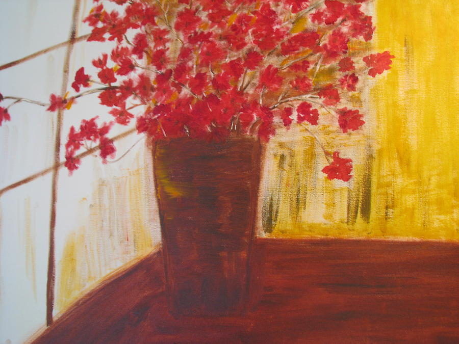 Vase Painting - Window Flowers by Brindha Naveen