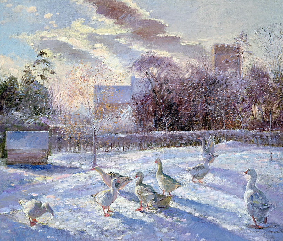 Goose; Snow; Tower; Geese Painting - Winter Geese In Church Meadow by Timothy Easton