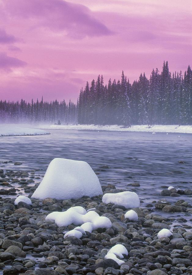 Light Photograph - Winter Sunset On Bow River, Banff by Darwin Wiggett