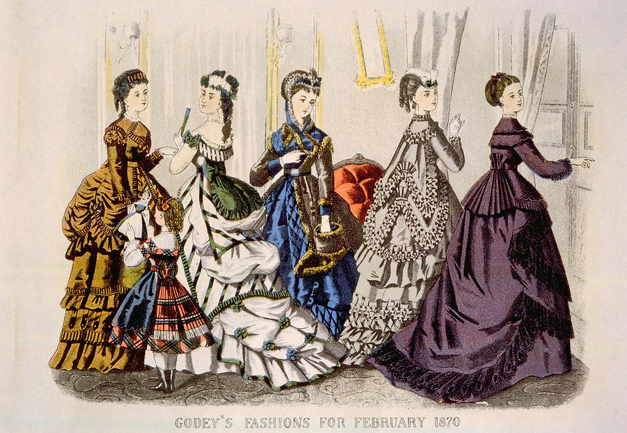 19th Century Photograph - Womens Fashions From Godeys Ladys Book by Everett