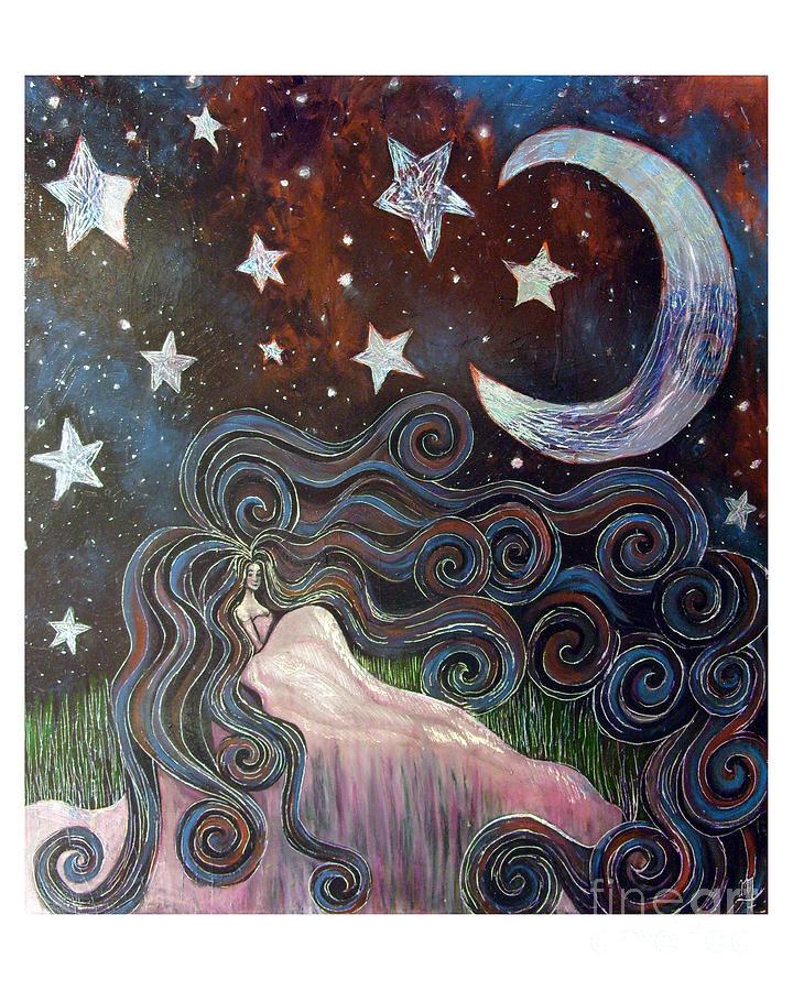 Girl Painting - Wonder Of Night by Monica Furlow