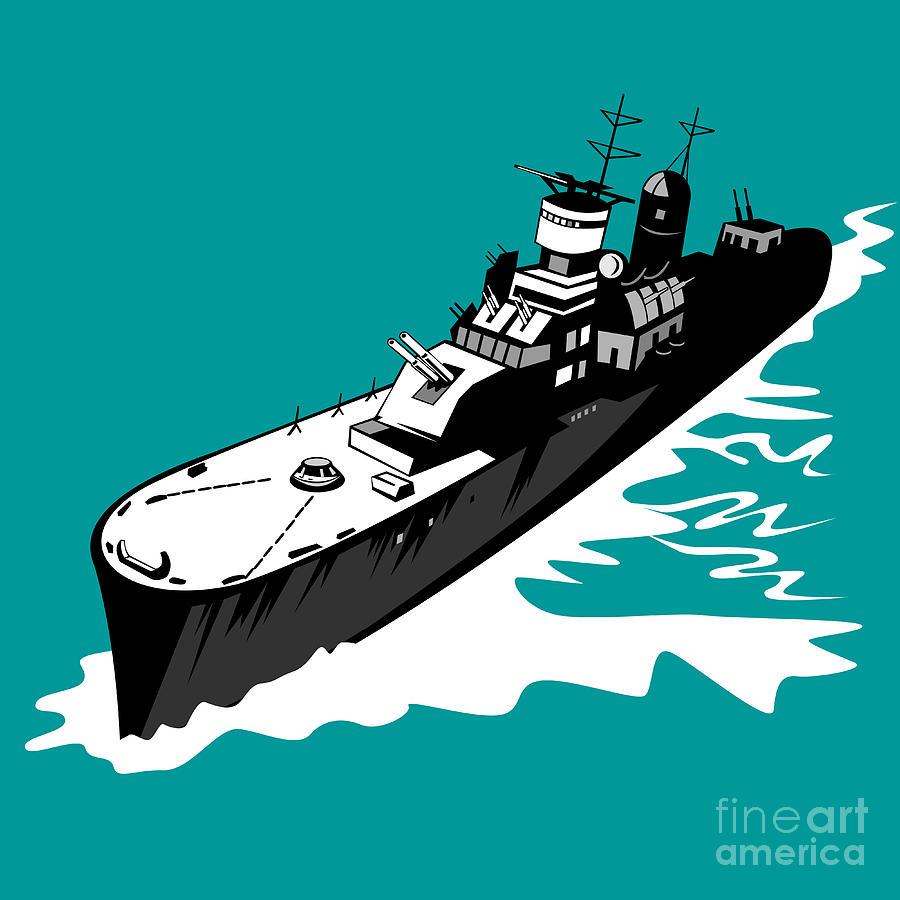 Battleship Digital Art - World War Two Battleship Warship Cruiser Retro by Aloysius Patrimonio