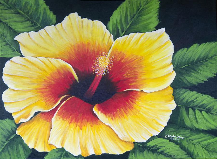 Yellow Hibiscus Painting by Kathy Woolington
