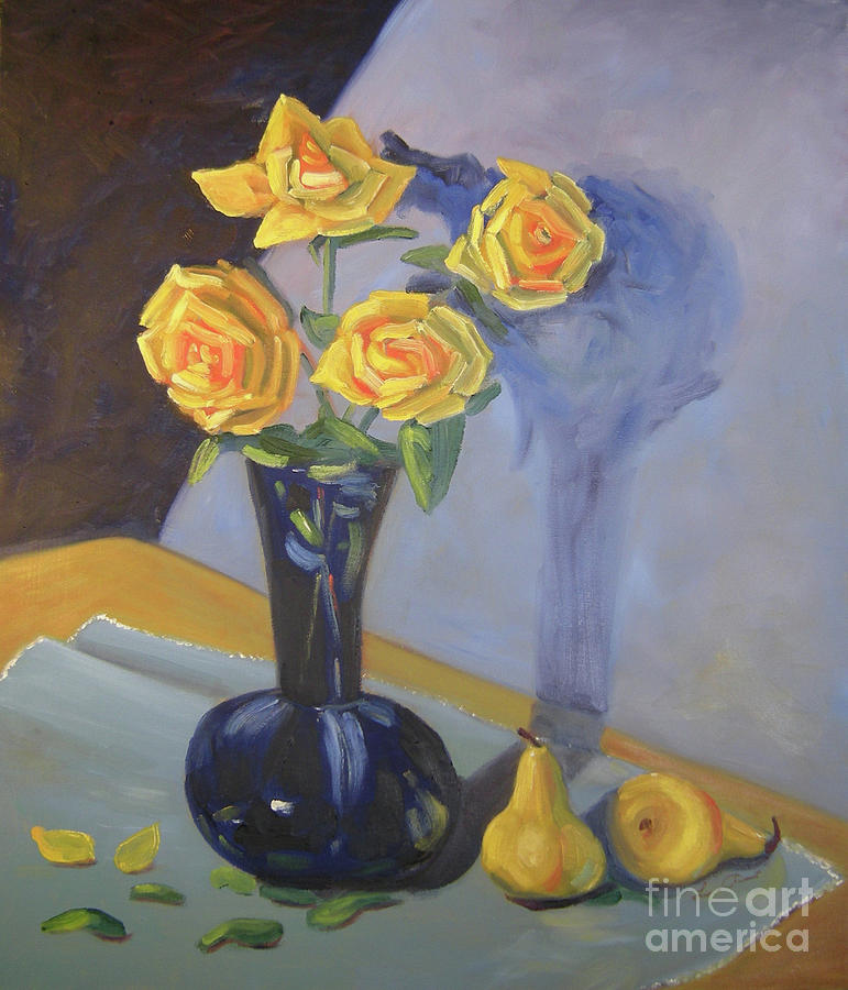 Floral Painting - Yellow Roses and Pears by Lilibeth Andre