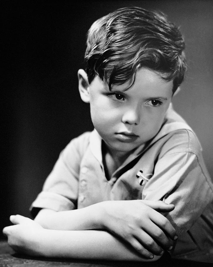 Child Photograph - Young Boy Pouting by George Marks
