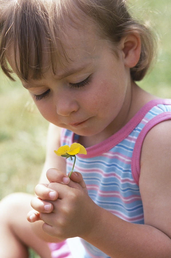 Girl Photograph - Young Girl With A Flower by Ian Boddy