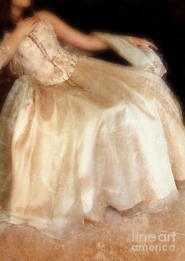Young Photograph - Young Lady Sitting In Satin Gown by Jill Battaglia