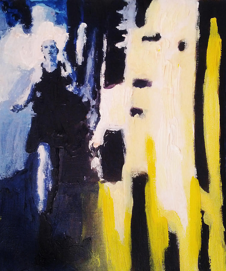 Young Running Female Cityscape In Blue And Yellow Painting by M Zimmerman