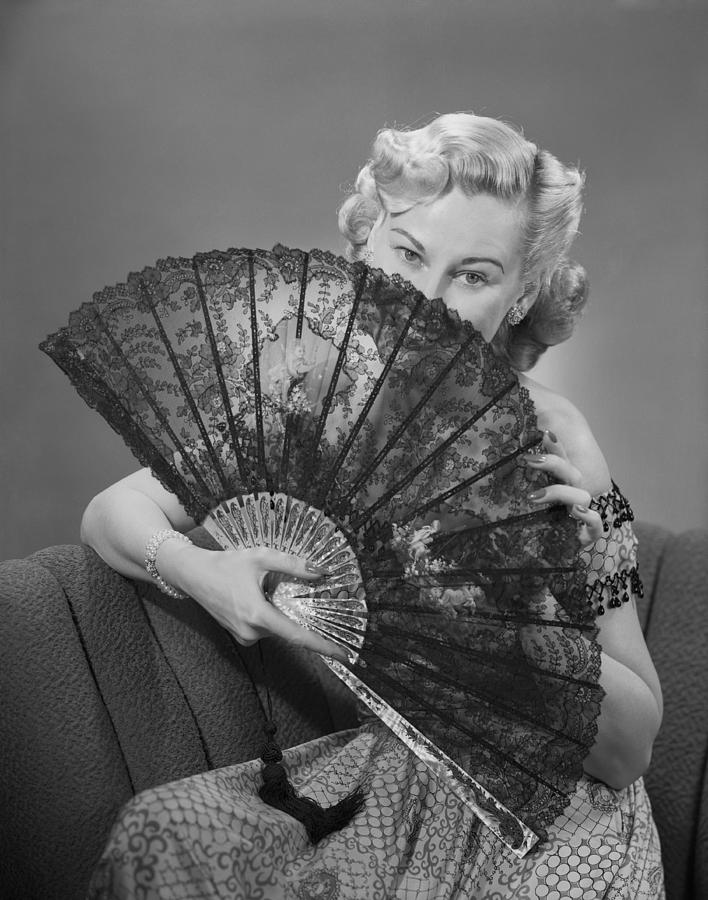 Adult Photograph - Young Woman Holding Fan, Portrait by George Marks