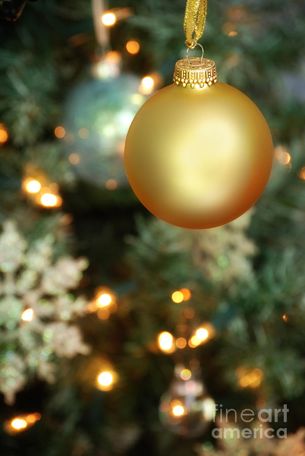 Gold Photograph - Christmas Ornaments by HD Connelly