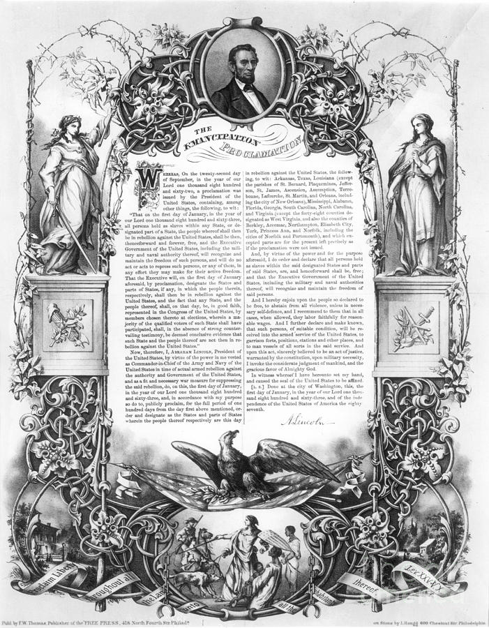 1860s Photograph - Emancipation Proclamation by Granger