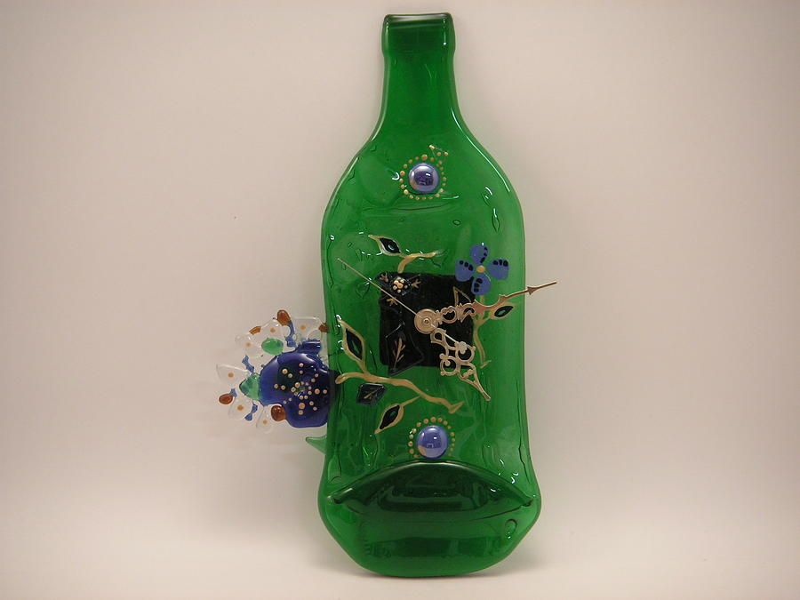 Mixed Media Glass Art - Glass Clock by ALEXANDR and NATALIA GORBACHEV