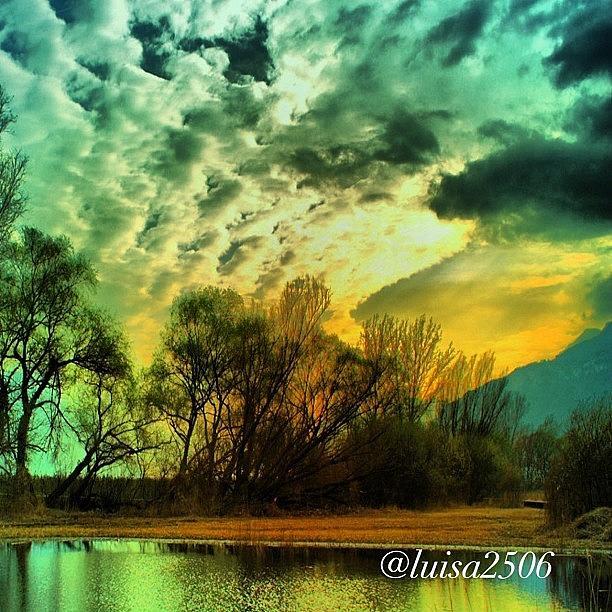 Reflection Photograph - Sunset by Luisa Azzolini