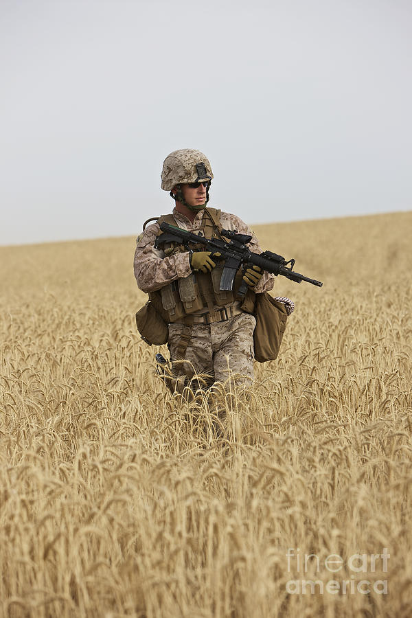 Vertical Photograph - U.s. Marine Patrols A Wadi Near Kunduz by Terry Moore