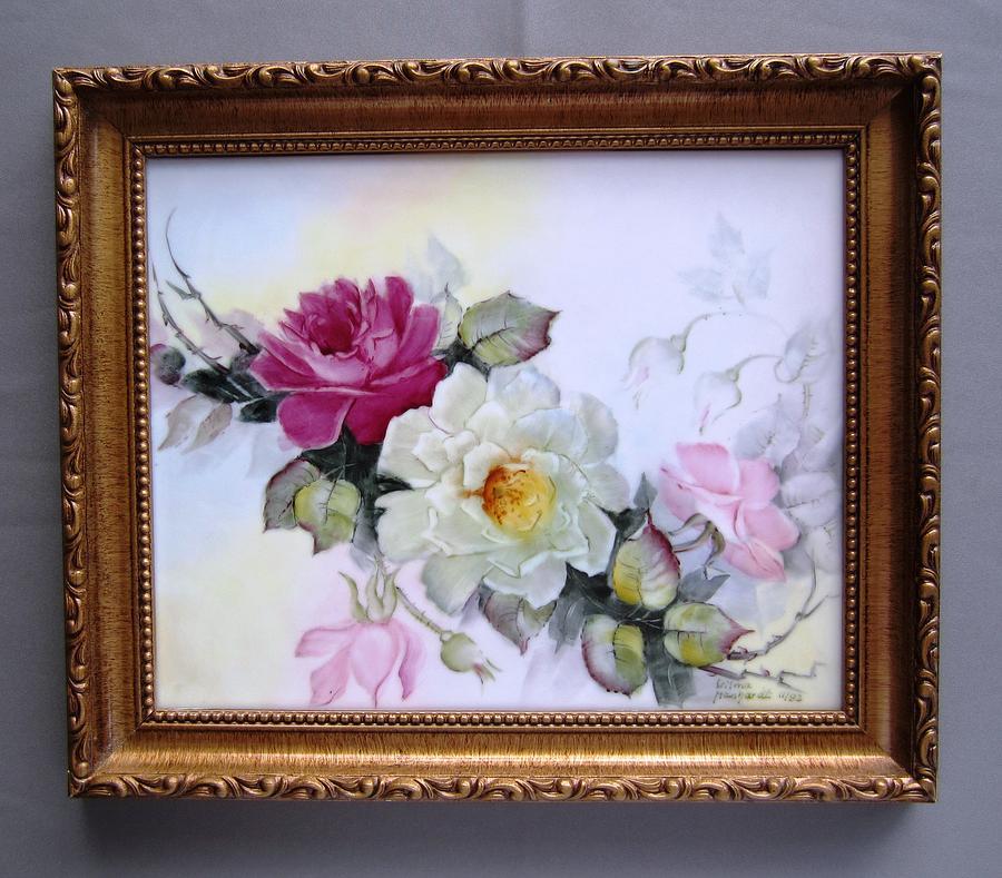 Porcelain Ceramic Art - 1106 Framed Rose Tile by Wilma Manhardt