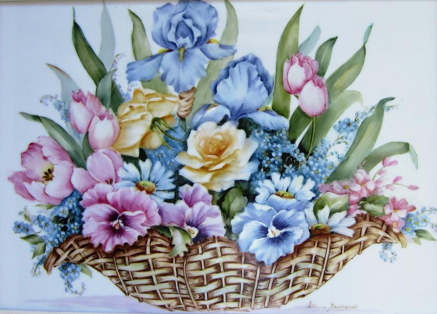 1119 b flower basket ceramic art by wilma manhardt