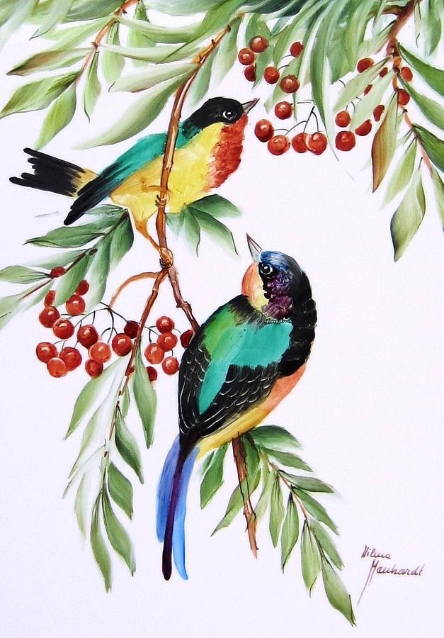 Porcelain Ceramic Art - 1152 Little Birds And Berries by Wilma Manhardt