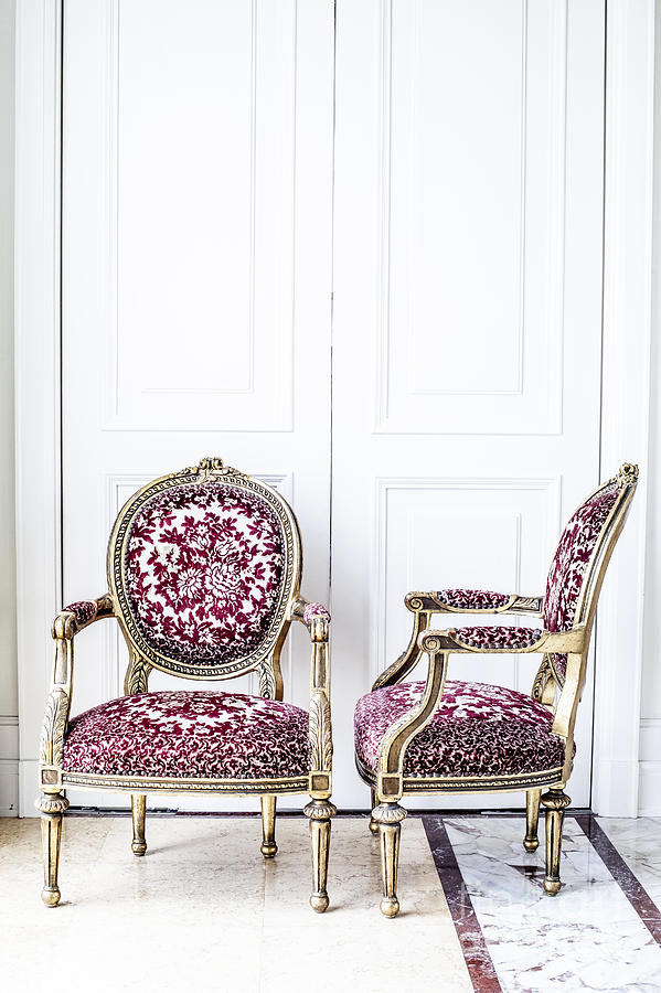Antique Photograph - Luxury Antique Chair. by Chavalit Kamolthamanon