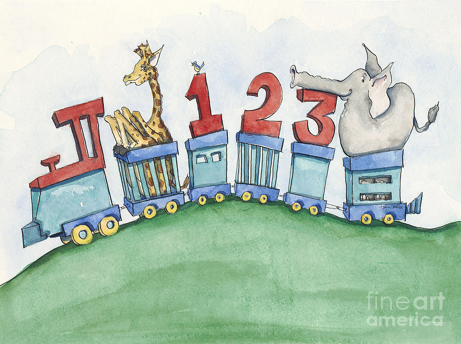 Wall Art Painting - 123 Animal Train by Annie Laurie