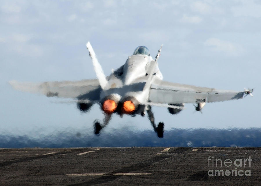Horizontal Photograph - An Fa-18c Hornet Launches by Stocktrek Images