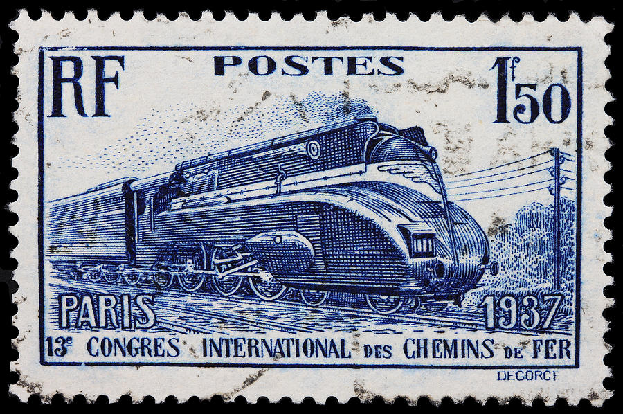 Railway Stamp Photograph - old French postage stamp by James Hill