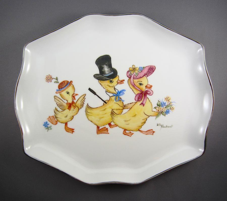 Porcelain Ceramic Art - 1545 Easter Parade Tray by Wilma Manhardt