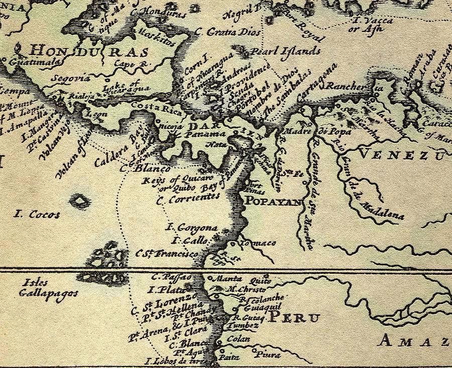 17th Century Photograph - 1698 W. Dampier Pirate Naturalist Map by Paul D Stewart