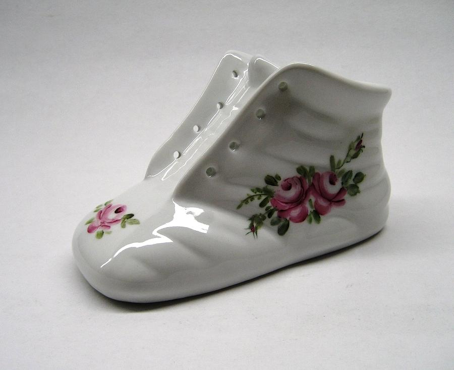 Porcelain Ceramic Art - 1705 Baby Shoe Pink Roses by Wilma Manhardt
