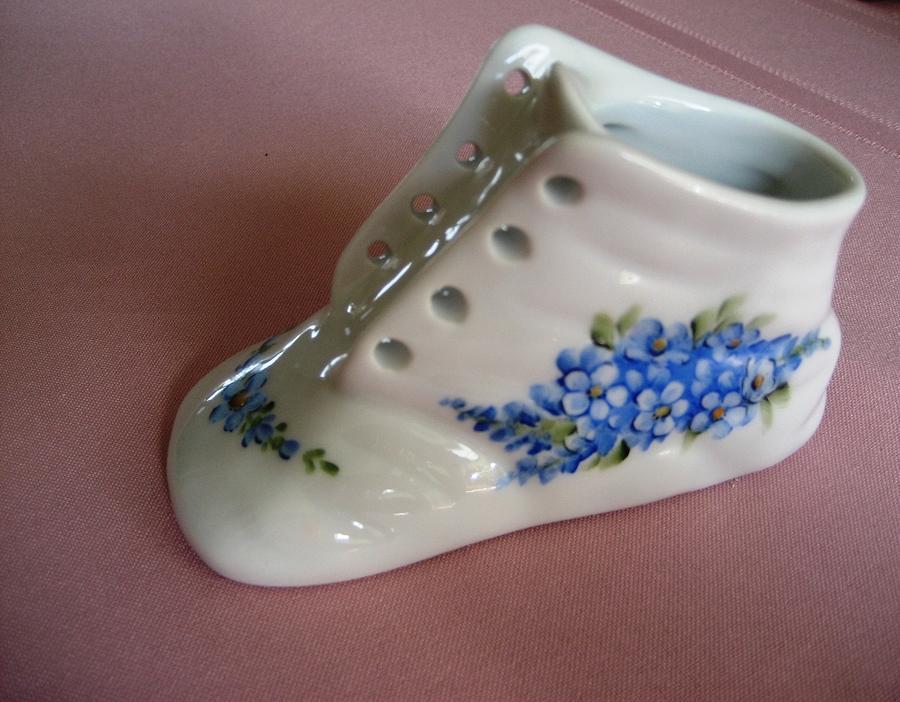 Porcelain Ceramic Art - 1706 Baby Shoe Blue  by Wilma Manhardt