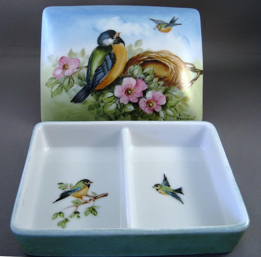 Porcelain Ceramic Art - 174 Card Box With Birds by Wilma Manhardt
