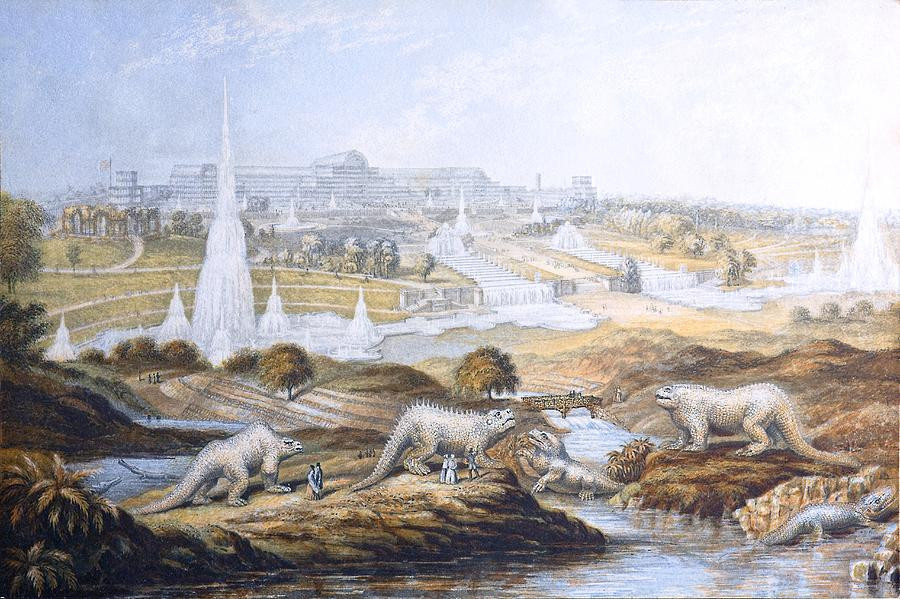 Antediluvians Photograph - 1854 Crystal Palace Dinosaurs By Baxter 2 by Paul D Stewart