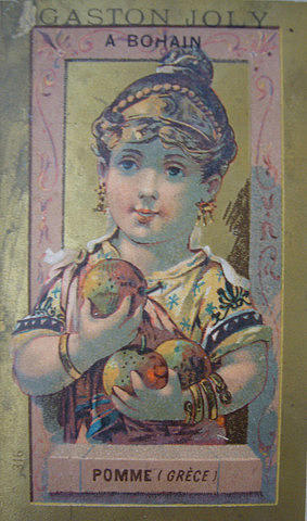Vintage Drawing - 1890s Original French Label Gaston Joly Confectionary Apple  by Anonymous