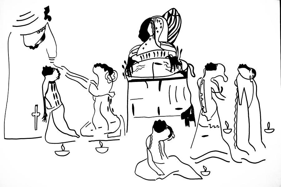 Jesus Drawing - Wise Virgins  by Gloria Ssali