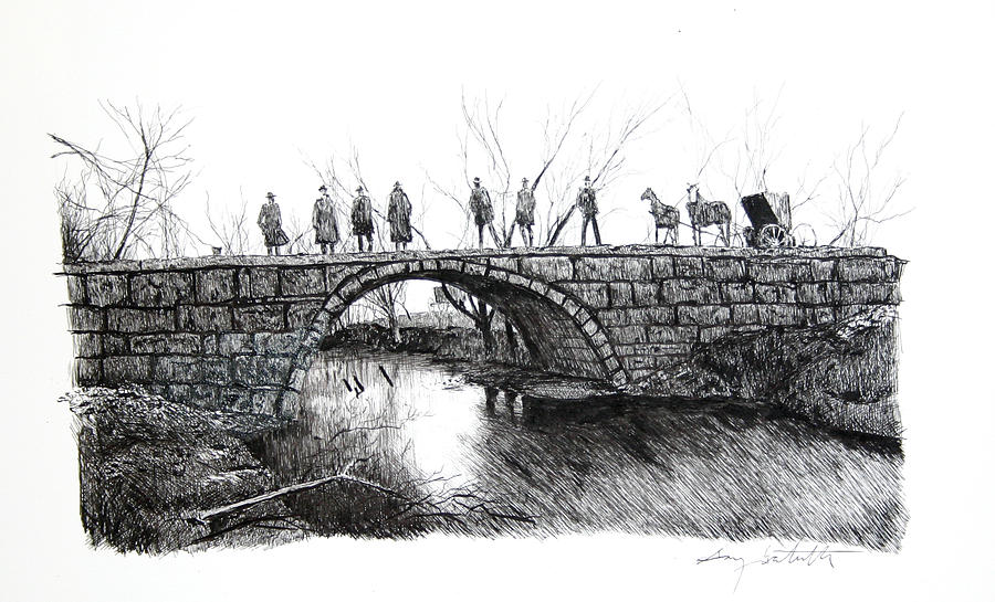 Stone Bridge Drawing - 1902 Bridge Postcard by Gary Gackstatter