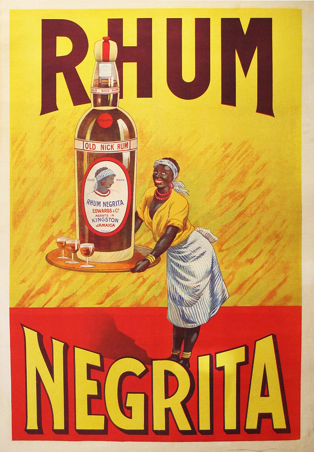 Vintage Drawing - 1920s Original Rhum Negrita French Vintage Poster  by Anonymous