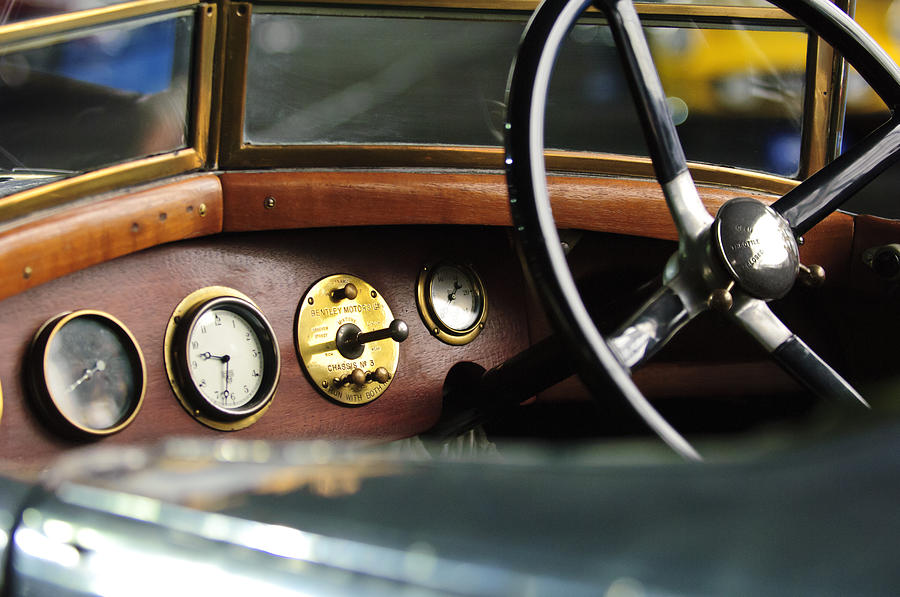Instruments Photograph - 1921 Bentley  Instruments And Steering Wheel by Jill Reger