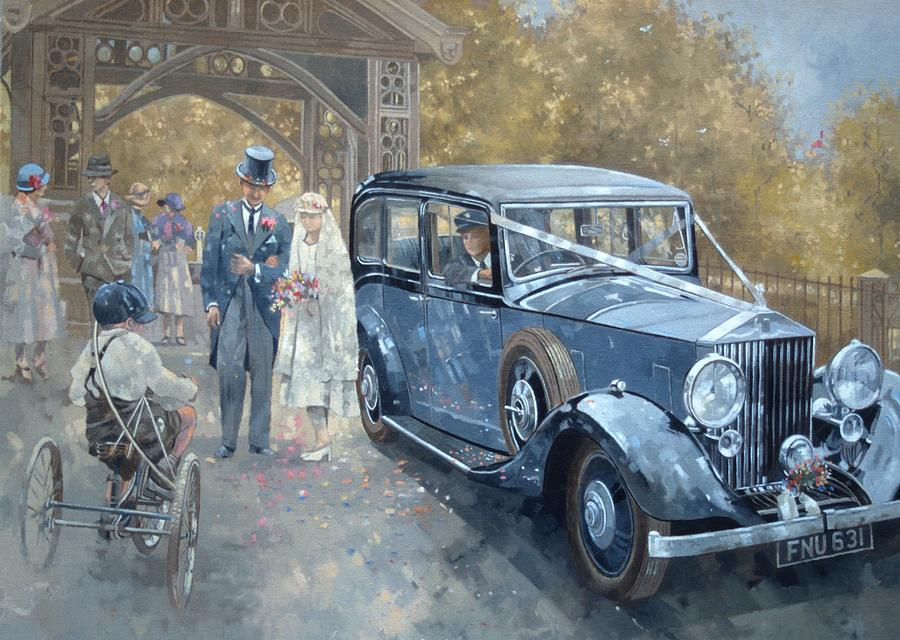 Vintage; Marriage; Bride; Groom; Car; Automobile; Rolls Royce; Thirties; 30s; Tricycle; Married Couple; Traditional; Nostalgic; Nostalgia; Vintage Car; Classic Car; Nuptual; Guest; Guests; Men; Women; Male; Female; Child; Cycle; Cycling; Country Wedding  Painting - 1930s Country Wedding  by Peter Miller