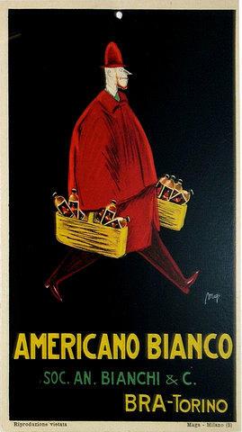 Vintage Drawing - 1933 Original Italian Art Deco Carton Americano Bianco Advertisement by Maya