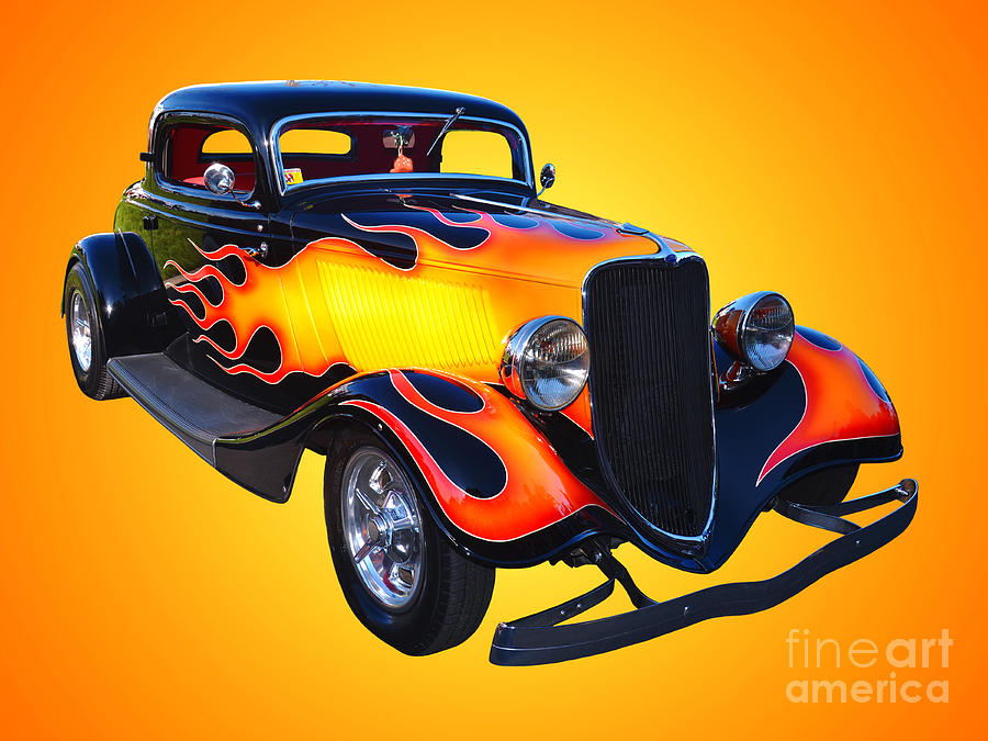Car Photograph - 1934 Ford 3 Window Coupe Hotrod by Jim Carrell