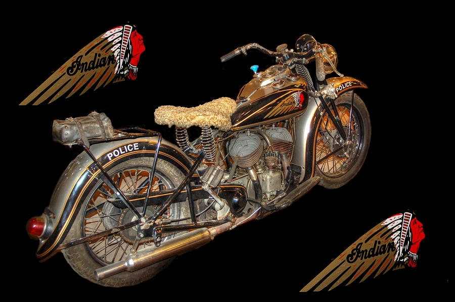 Police Motorcycle Photograph - 1940 Indian Scout Police Unit Version 3 by Ken Smith