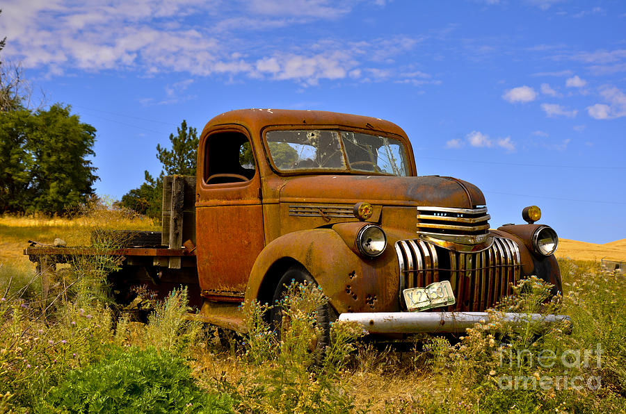 Old Truck Photograph - 1940s Chevy Truck 2 by Camille Lyver