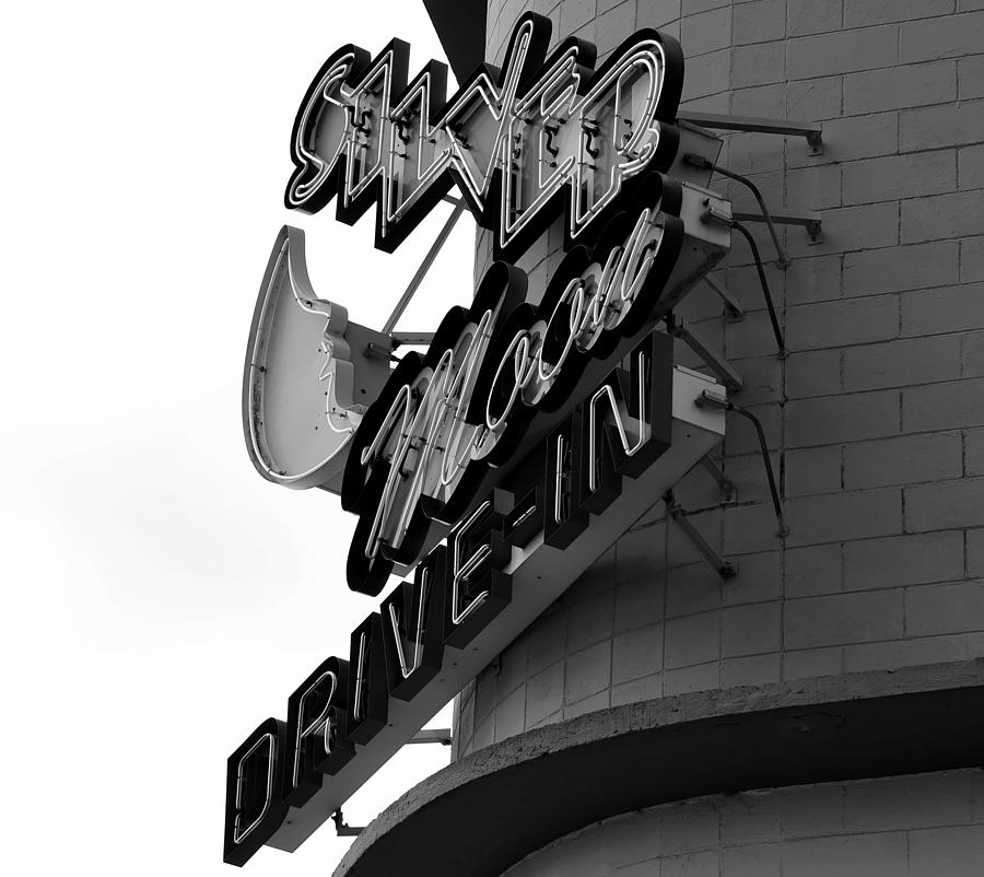Black And White Photograph - 1940s Drive In by David Lee Thompson