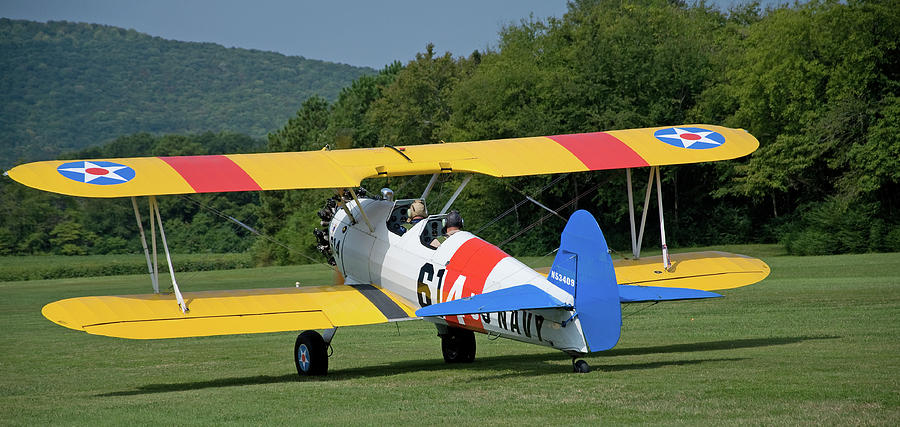 Bi-plane Photograph - 1941 Stearman Taxiing For Takeoff by Jim and Kim Shivers