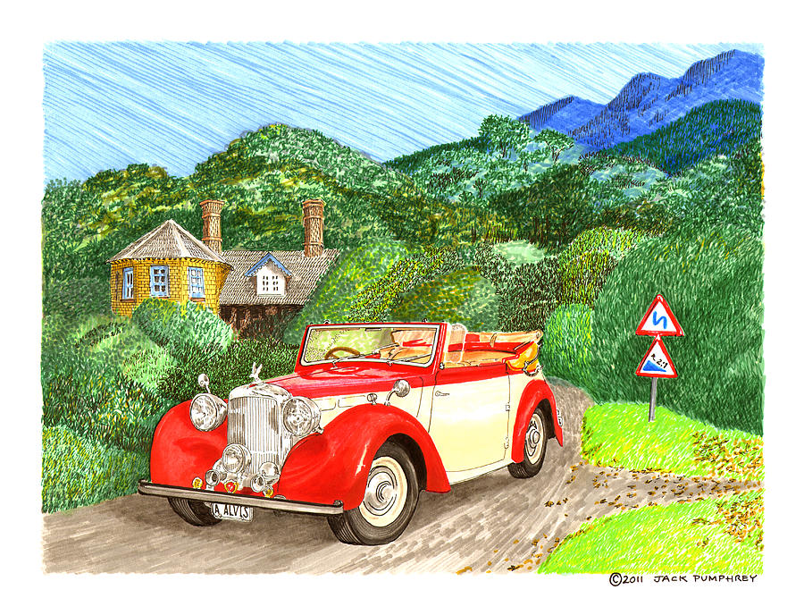 1948 Alvis English Countryside Painting by Jack Pumphrey