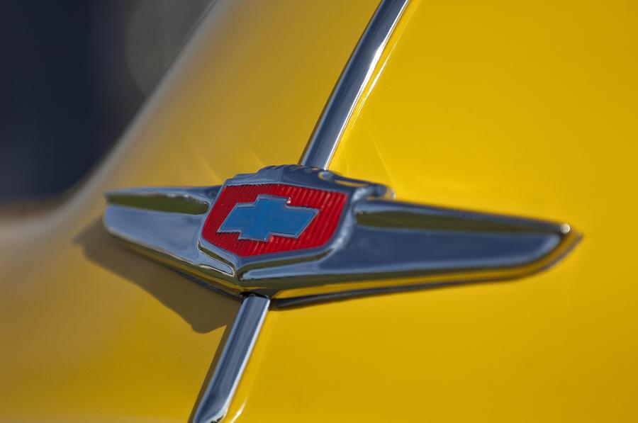 Classic Car Photograph - 1949 Chevrolet Sedan Hood Emblem by Jill Reger