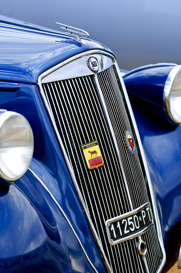 Grille Photograph - 1952 Lancia Ardea 4th Series Berlina Grille Emblems by Jill Reger